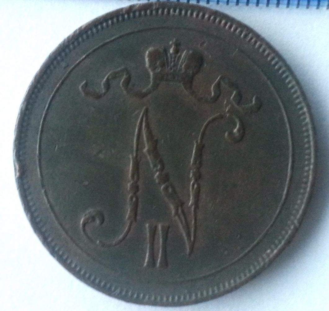 Antique 1916 coin 10 pennia kopeks Emperor Nicholas II of Russian Empire Finland