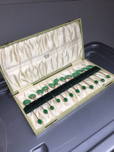 Load image into Gallery viewer, Antique set of ten c. 1913 enamel sterling silver spoons