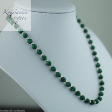 Load image into Gallery viewer, Vintage malachite and sterling silver beads necklace