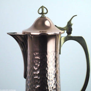 Antique WMF superb large brass and copper wine claret jug Art Nouveau solid gift