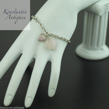 Load image into Gallery viewer, Sterling silver Bracelet chain with Rose Quartz Heart pendant