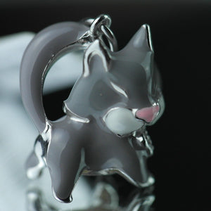 Sterling silver pendant grey Enamel Cat with incrusted collar band