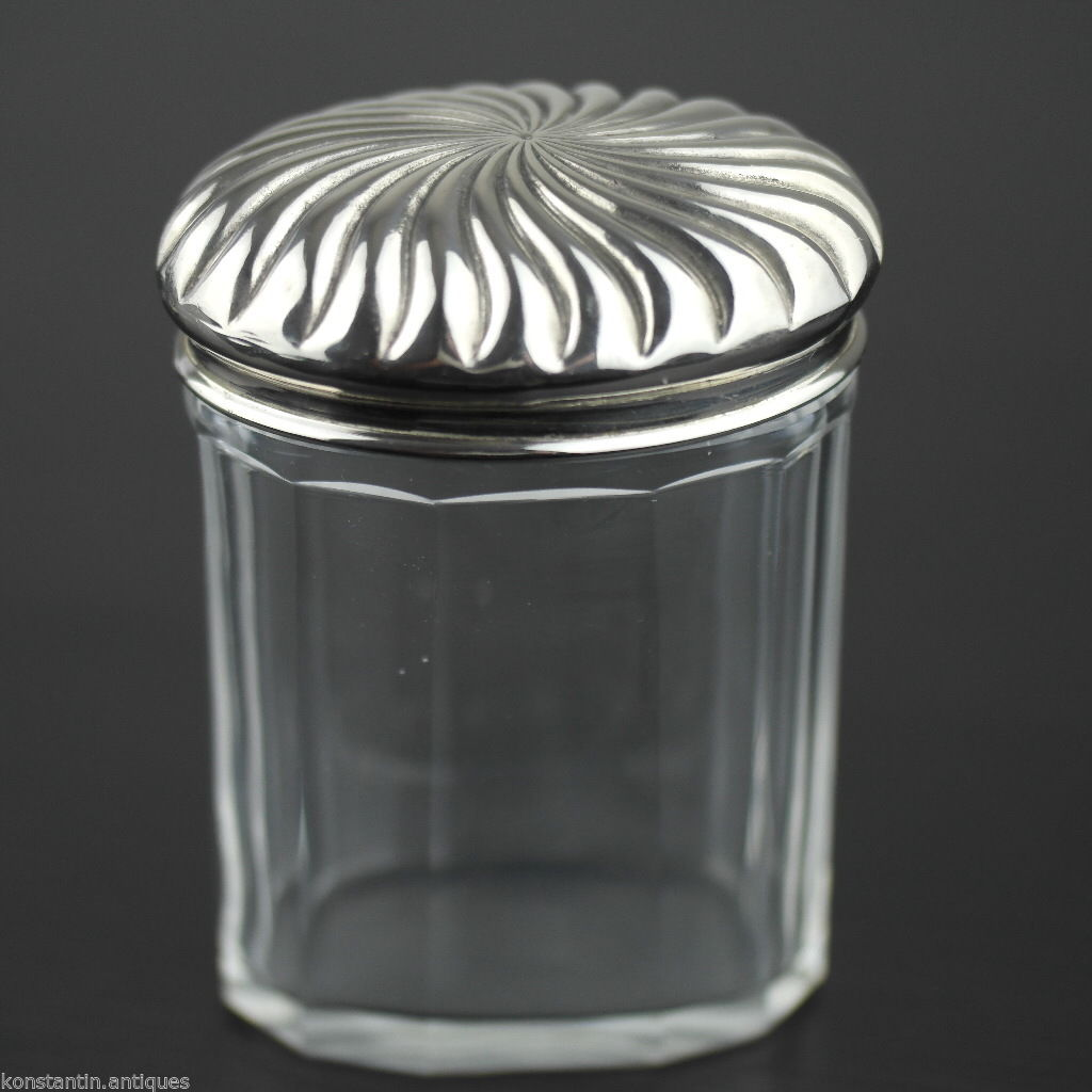 Antique 1900 vanity cut glass bottle box silver plated topper jar British Empire