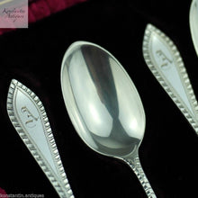 Load image into Gallery viewer, Antique 1901 sterling silver spoons set 12 and tongs London A