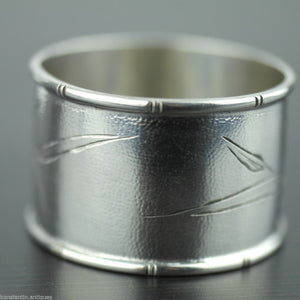 Antique 19thC solid silver napkin ring Wang Hing Chinese Export great rare gift