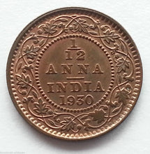 Load image into Gallery viewer, Antique 1930 coin 1/12 anna Emperor George V of British Empire 20thC INDIA