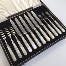Load image into Gallery viewer, Antique 1913 Sheffield solid silver set of six forks and knives with Nacre / MOP handles