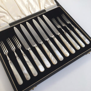 Antique 1913 Sheffield solid silver set of six forks and knives with Nacre / MOP handles
