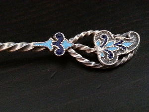 Art Nouveau solid silver gild enamel spoon Denver twist Sterling USA Antique
