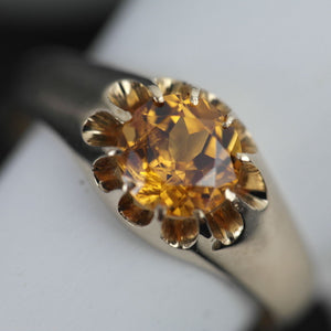 Antique 14ct gold ring Imperial Topaz brilliant cut 56 Russian Empire 20thC