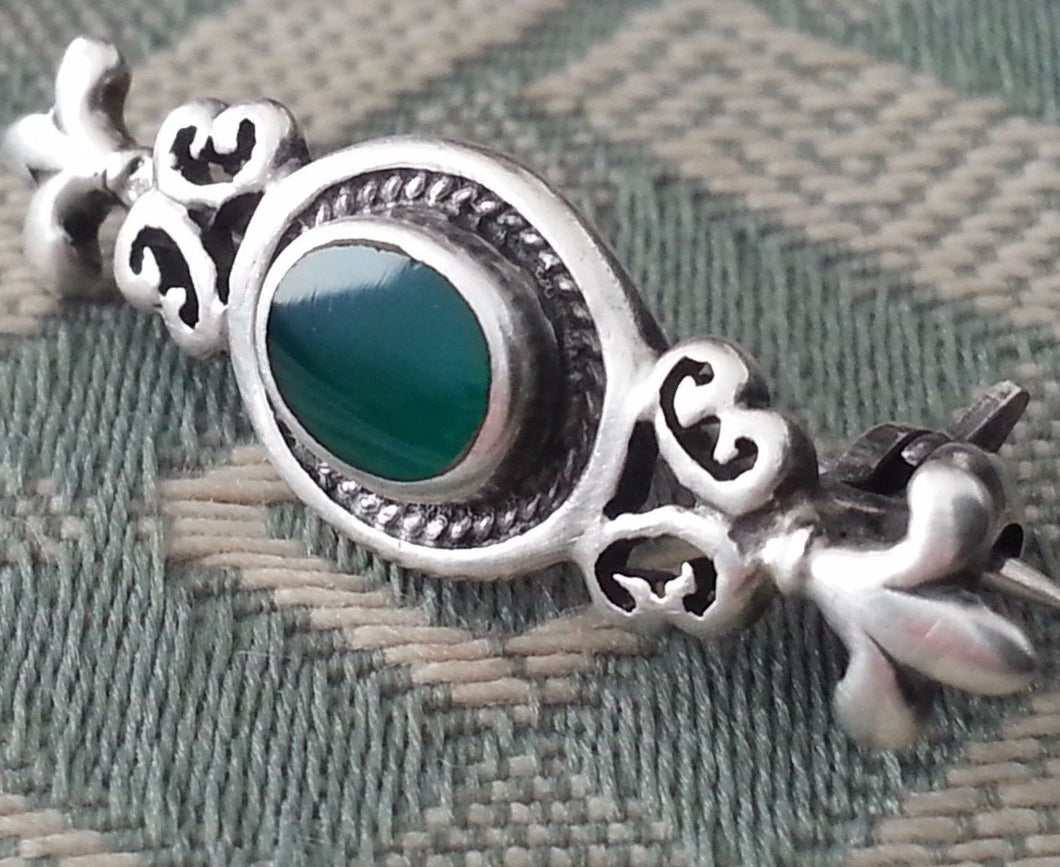 Antique solid silver brooch green Jade Royal flowers Art Nouveau Sterling