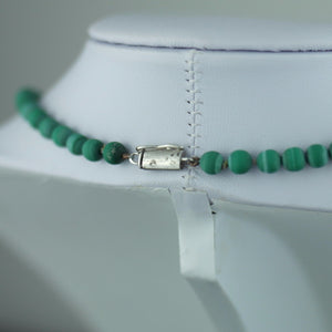 Antique malachite beads necklace with solid silver lock Portugal