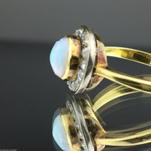 Load image into Gallery viewer, Antique 18ct gold ring with genuine opal and old cut diamonds