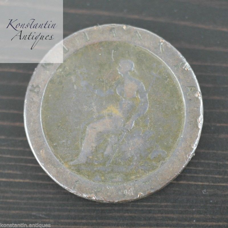 Antique 18thC British Imperial c. 1797 GEORGE III CARTWHEEL PENNY COIN gift