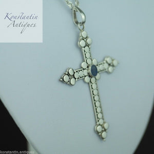 Vintage sterling silver cross with Opal stone on the chain 925 Suarti Indonesia