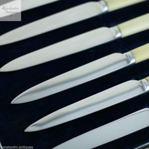 Antique 1923 sterling silver knives set 6 six solid Art Deco Sheffield boxed gif