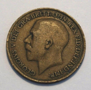 Antique 1919 one penny coin George V British Empire
