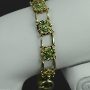 Antique 18thC Sterling silver gold plated Guilloche Enamel bracelet chain France 950