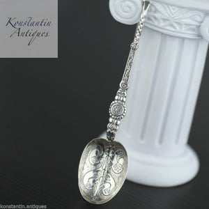 Antique 1910 sterling silver anointing spoon Birmingham British Empire