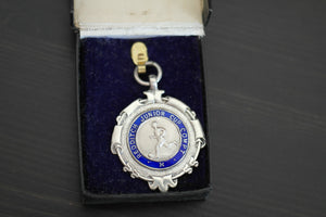 Vintage 1934 sterling silver enamel medal Redditch Junior Cup Compt boxed gift