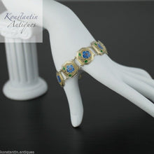 Load image into Gallery viewer, Vintage Portugal Enamel flowers gold plated solid silver bracelet