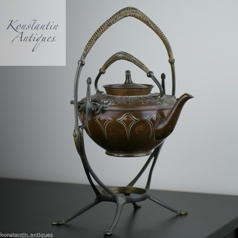 Art Nouveau WMF Copper Tea Coffee Spirit Kettle on Pewter stand Antique