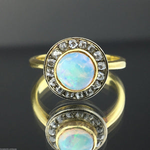 Antique 18ct gold ring with genuine opal and old cut diamonds