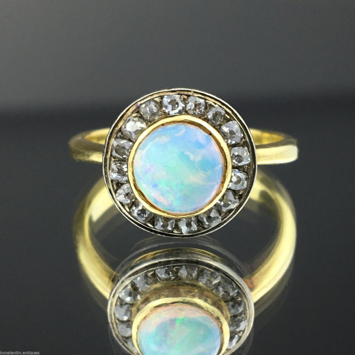 Antique 18ct gold ring with opal and diamonds brilliant cut cluster 750