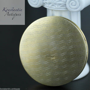 Vintage 1964 solid silver gold plated powder compact enamel porcelain 875 Russia