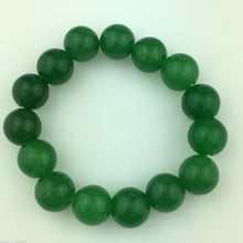 Load image into Gallery viewer, Green jade 13mm beads bracelet on elastic cord