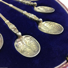 Load image into Gallery viewer, Vintage 1936 gild solid silver anointing spoons set of six Birmingham E&Co