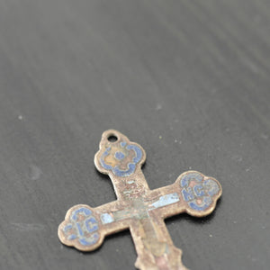 Antique solid enamel cross Russian Empire Orthodox old Believers
