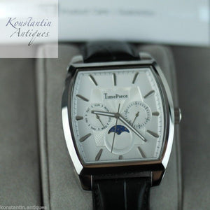 TimePiece Swiss Quartz wrist watch with leather strap and white dial