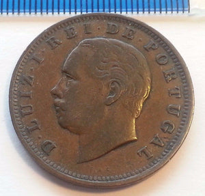 Antique 1885 coin 20 XX reis D. Luiz I Rei DE Portugal