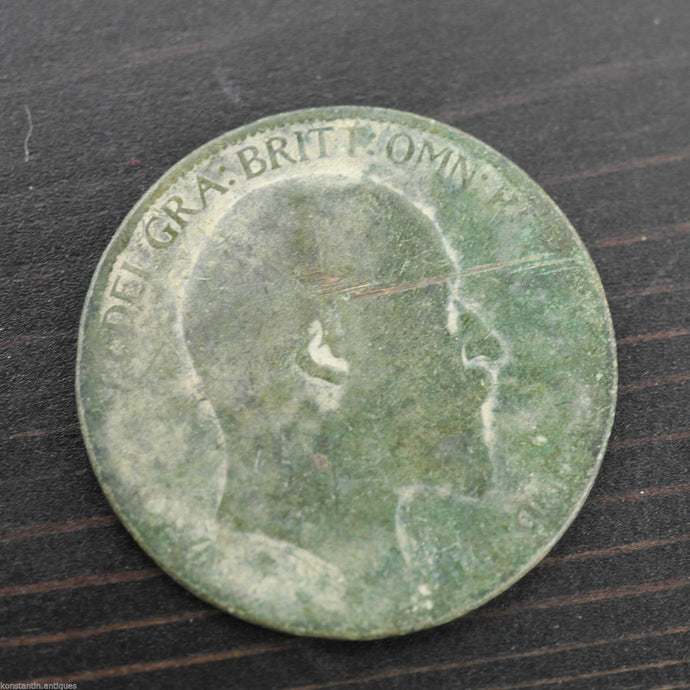 Antique 1903 coin Halfpenny EF. Edward VII, Bronze with patina
