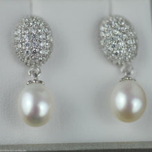 Stylish sterling silver cultured pearls earrings CZ Lucoral 925