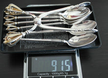 Load image into Gallery viewer, Vintage sterling silver set six spoons plus tongs Denmark W&S Sorensen in box