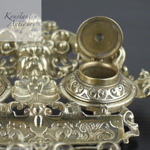 Antique solid brass double inkwell ornamented British Empire