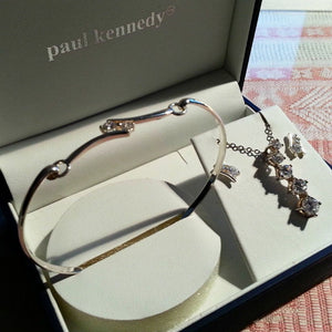 5294da47d Incrusted set with CZ Sterling silver bangle, earrings, chain and charm  pendant