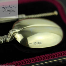 Antique 1905 gilt sterling silver anointing spoons boxed London British Empire