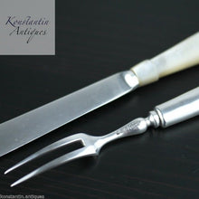 Load image into Gallery viewer, Antique 1900 sterling silver set of fork and knife Nacre MOP handles