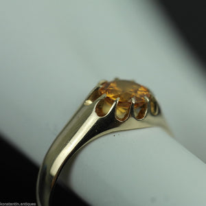 Antique 14ct gold ring Imperial Topaz brilliant cut 56 Russian Empire