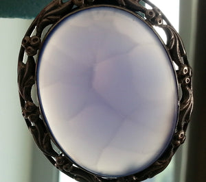 Vintage 1963 sterling silver brooch blue Chalcedony Agate gemstone solid gift
