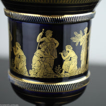 Vintage hand made 24ct Gold plated pottery urn Greek Royal blue