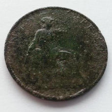 Load image into Gallery viewer, Antique 1891 one penny coin Victorian 19thC British Empire with green patina