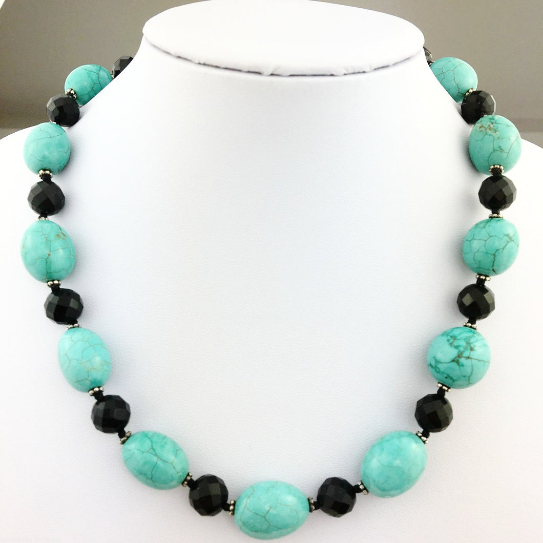 Vintage Lucas Lameth Turquoise and Onyx, sterling silver beads & clasp necklace