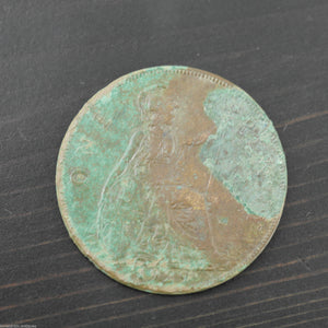 Vintage 1929 coin One penny George V of British Empire Bronze with patina