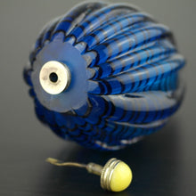 Load image into Gallery viewer, Antique blue glass snuff bottle with brass lid and yellow jade on the top