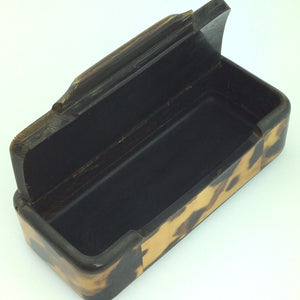 "Antique snuff box in horn with ""Faux"" Tortoise shell inlaid and silver ornaments"