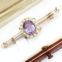 Load image into Gallery viewer, Antique Russian Empire 56 gold brooch with Amethyst and seed pearls cluster